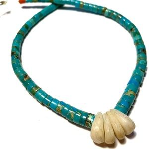 Jewelry - Heishi Turquoise Necklace With White Coral Jacla